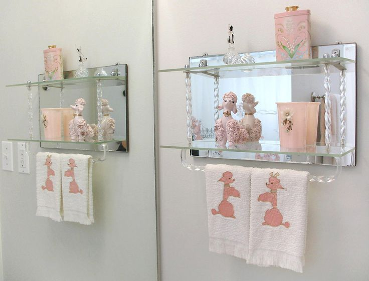1950's pink accessories and vintage lucite mirror shelf