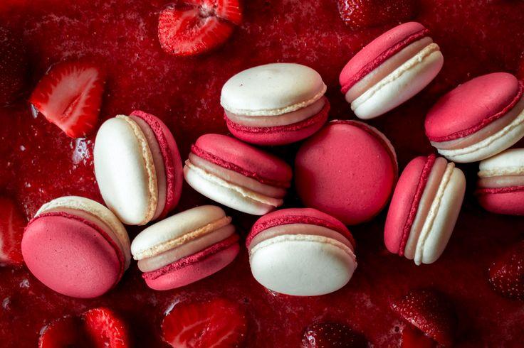 Macarons with white Valrhona chocolate ganache and strawberries.