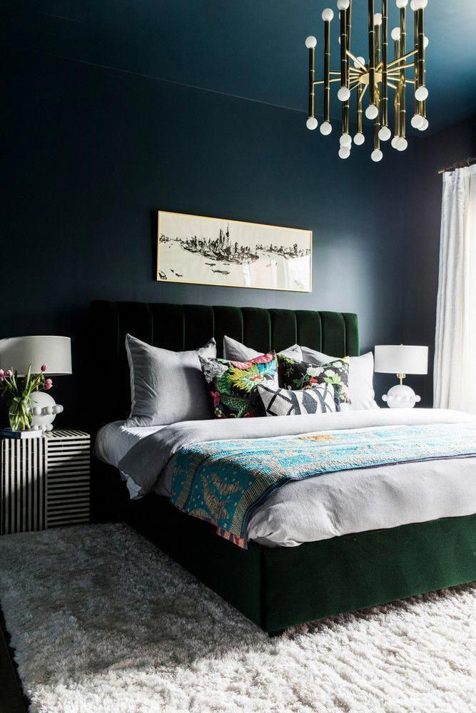 Dramatic Moody Bedroom With Deep Navy Walls And A Green Velvet Bed Frame Diyecleticdecor Bedroom Interior Velvet Bed Frame Home Decor Bedroom