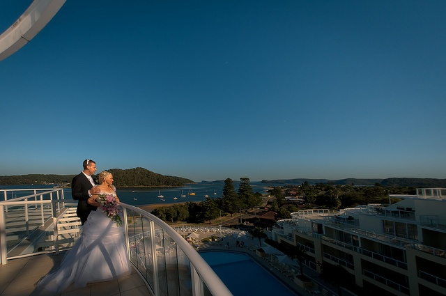 A view over looking the Mantra Resort at Ettalong Beach, NSW by Edward Yd via Flickr.