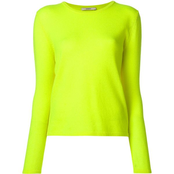 Odeeh round neck jumper (€345) ❤ liked on Polyvore featuring tops, sweaters, round neck top, green cashmere sweater, green jumper, round neck sweater and jumper tops