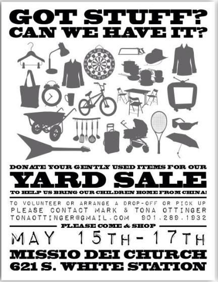 Community Yard Sale as adoption fundraiser. These 2 families made over $17,000!!!