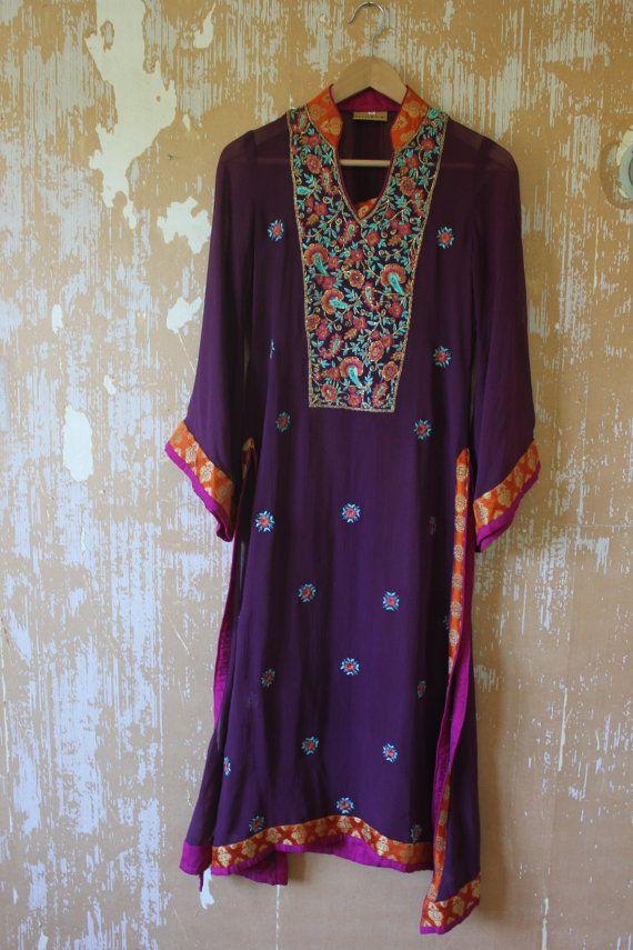 vintage. Purple Flowy Sheer Long Tunic // Indian by styleforlife