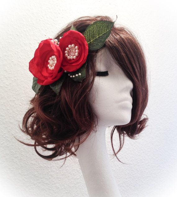Red flower bridal headdress bridal by AnitaHiltonweddings on Etsy https://www.etsy.com/uk/shop/AnitaHiltonweddings?ref=hdr_shop_menu