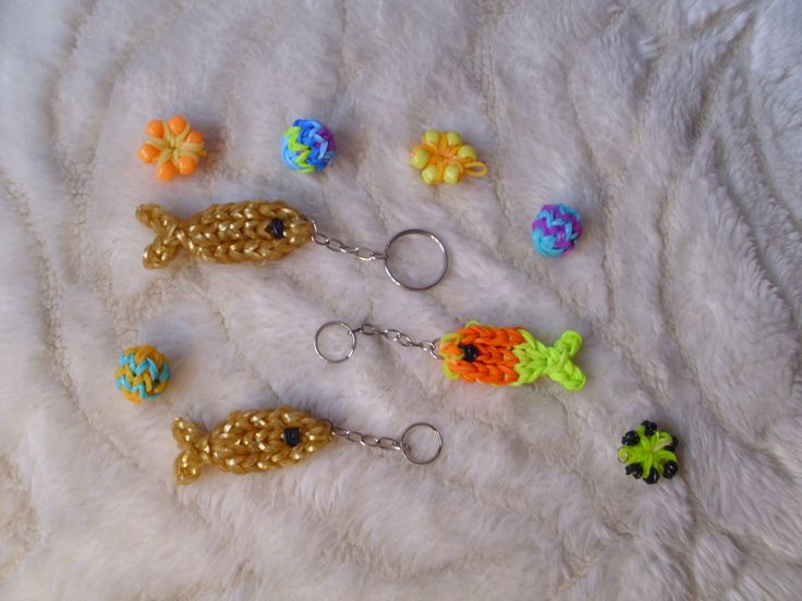 Rainbow loom halas kulcstartók, virágok és labdá