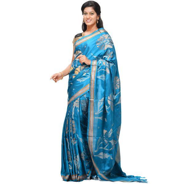 Blue Uppada Silk Handloom Saree with All Over Flower Plant Design u1091  #Uppada #Sarees