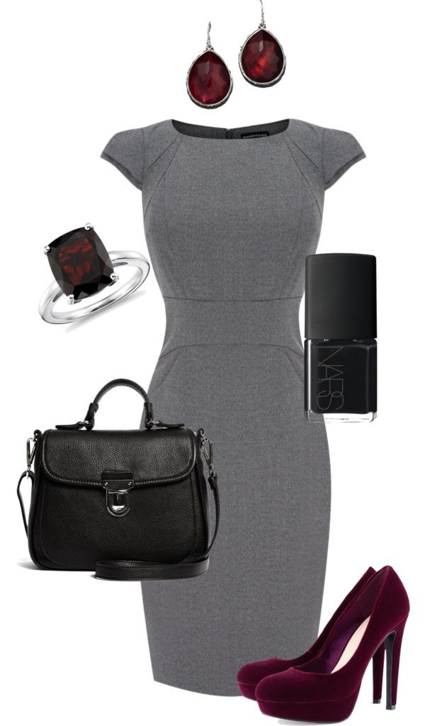 """Grey + Bordeaux + Black Business"" by k-a-te ❤ liked on Polyvore"