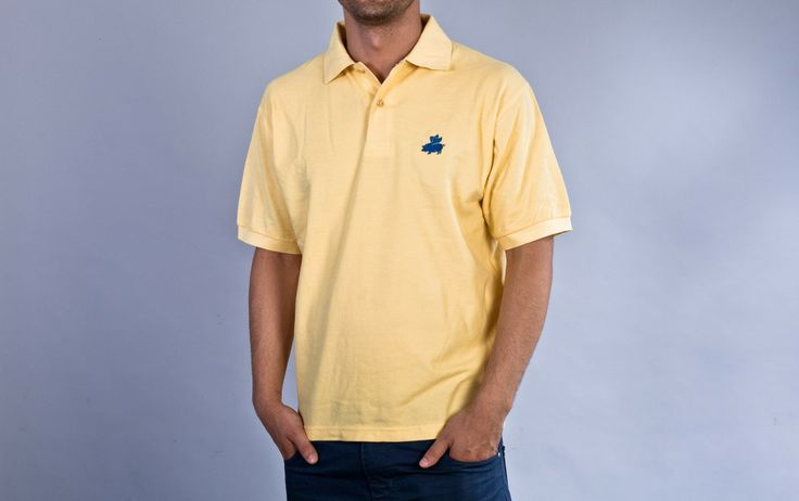 """Flying Pig"" Yellow Polo"