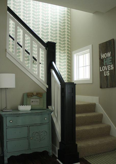 New Orla Kiely wallpaper in stairway | Flickr - Photo Sharing!