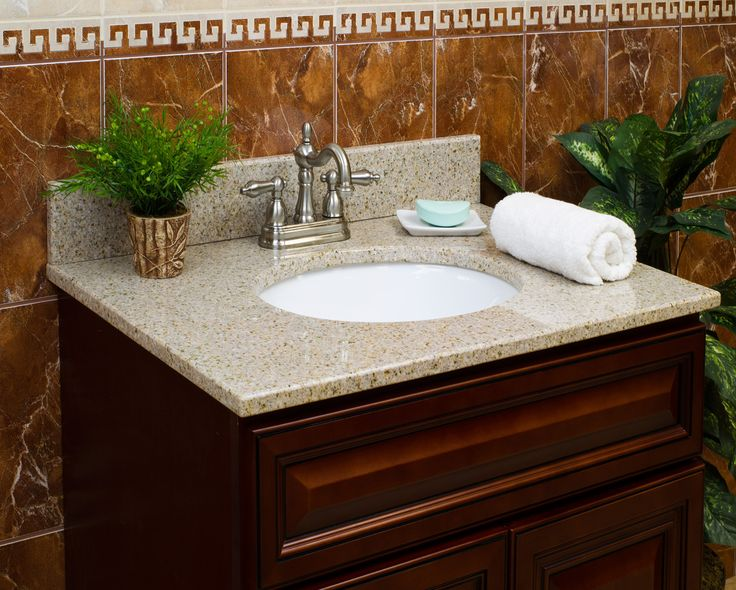 Gallery For Website Wheat Granite Vanity Top u or in Faucet Spread u in