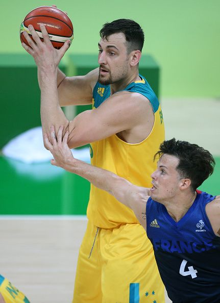 #RIO2016 Best of Day 1 - Andrew Bogut of Australia and Thomas Heurtel of France in action during the group phase basketball match between France and Australia on day 1 of the...