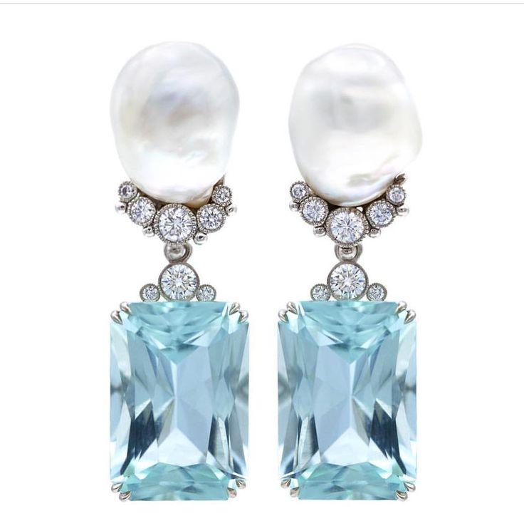 baroque pearls, diamonds and emeraldcut aquamarine earrings