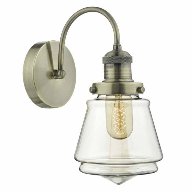 A vintage style wall light in an antique brass finish with a decorative champagne glass shade. This would be great for lighting in a vintage or rustic lounge or bedroom. This light is double insulated for safe use without need of an earth wire. This light is individually switched by a pull cord.