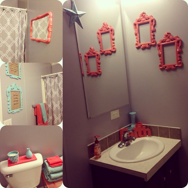 Bathroom makeover w coral teal gray bathroom ideas for Teal and gray bathroom ideas