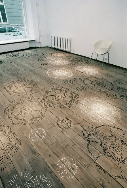Embroidered floor boards. Wow!