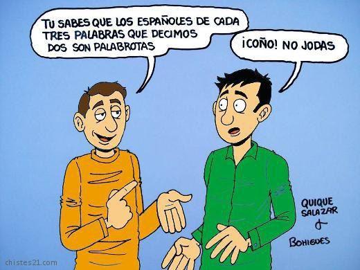 Про то, как испанцы любят мат: - Знаешь, что на каждые три слова испанец говорит по два матерных? - Них*я себе! П*здишь!