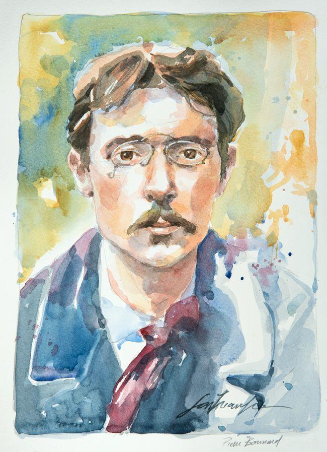 Pierre Bonnard. Une série de portraits à l'aquarelle en hommage aux grands artistes du 19 ème au 20 ème siècle. Le lien vers mon blog : www.humericbox.com