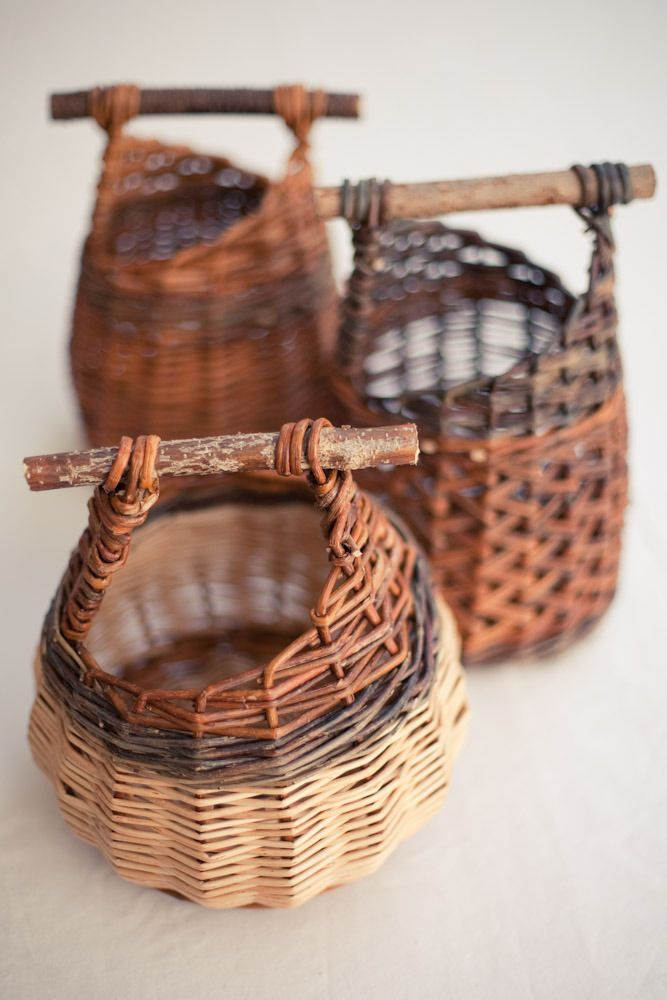 Baskets by Mònica Guilera who works in the Catalan tradition often combining willow, cane, olive and other locally available materials.: