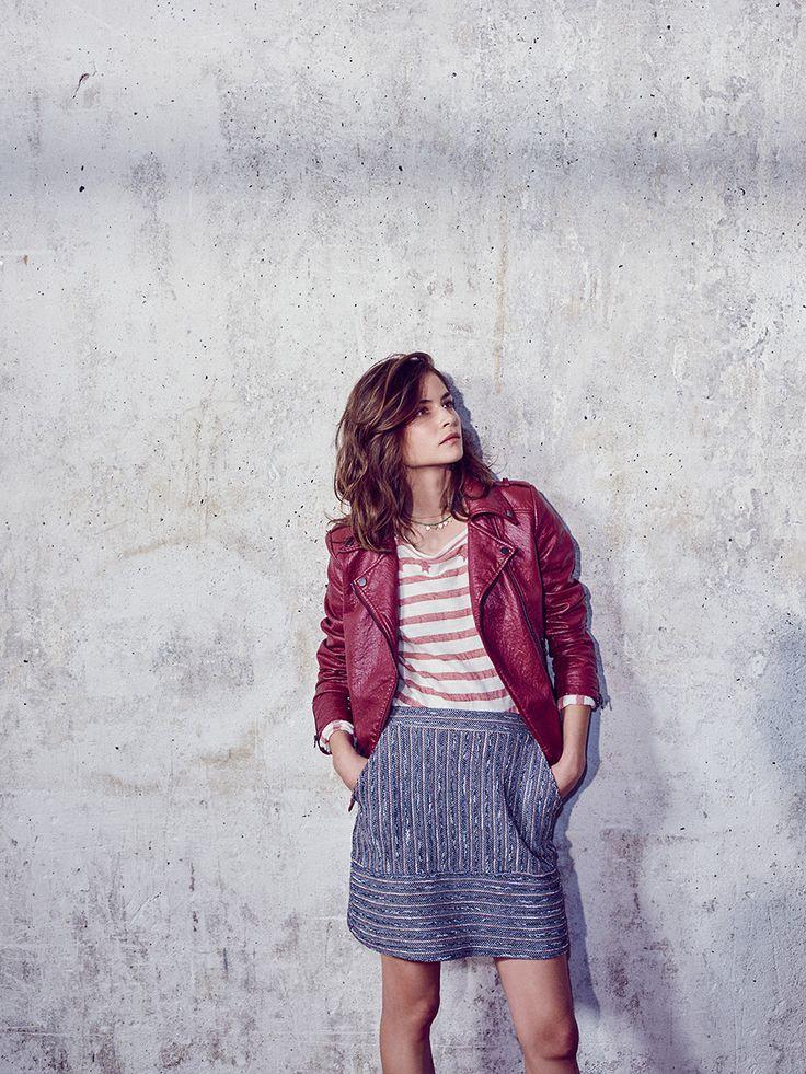 #ESPRIT #Spring #Lookbook #leatherjacket #bikerjacket #stripes #skirt #red