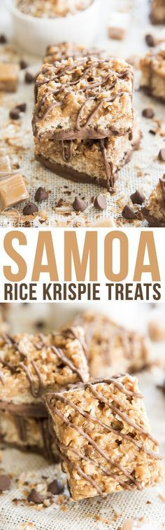 Samoa Rice Krispie Treats - These treats take traditional rice krispies to the next level. They're topped with a toasted coconut and caramel mixture, and drizzled and dipped with chocolate, just like your favorite Girl Scout Cookie!