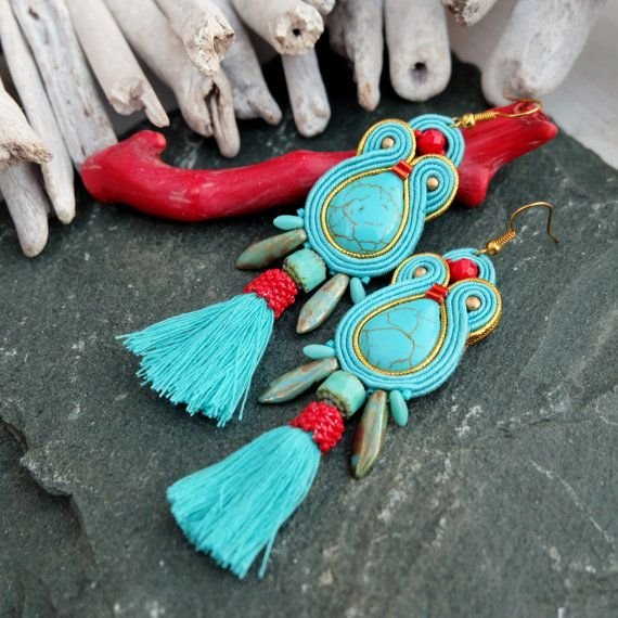 Hey, I found this really awesome Etsy listing at https://www.etsy.com/listing/480463632/turquoise-red-soutache-earrings-long