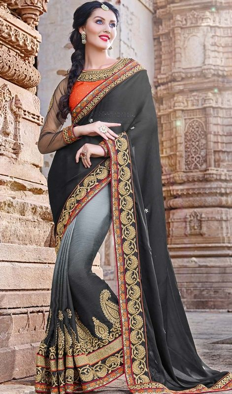 Create a lasting impact on the onlookers in this gray and black color shade chiffon net sari. Beautified with lace, resham and stones work. Upon request we can make round front/back neck and short 6 inches sleeves regular saree blouse also. #blacknetsaree #blackchiffonsari #latestcollectionsarees