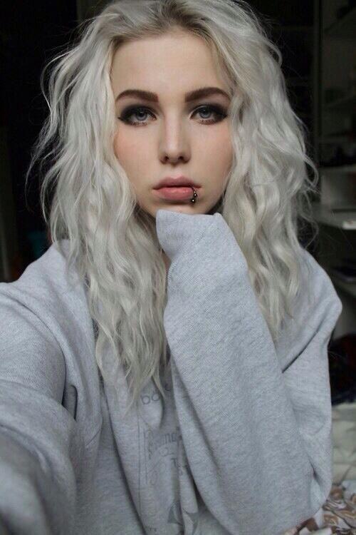 Medium white hair