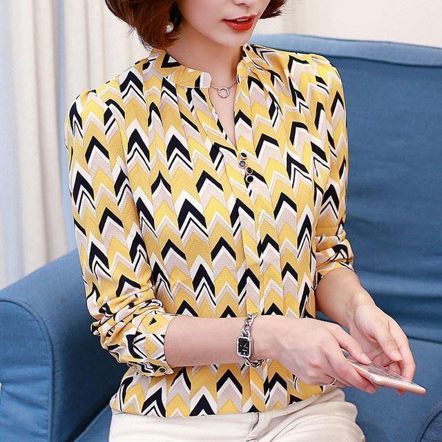 Women Spring & Summer Fashion V-Neck Chiffon Fabric Plus Size Blouse