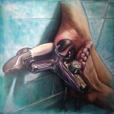 "Saatchi Art Artist Monica Spicciani; Painting, ""Feet on the shower"" #art"
