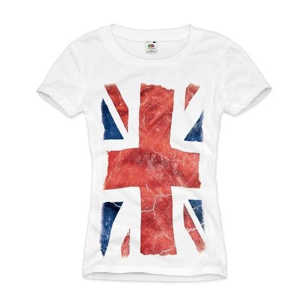style3 Union Jack Womens T-Shirt Great Britain England London Flag... ($22) ❤ liked on Polyvore featuring tops, t-shirts, white t shirt, white top, union jack tee, union jack t shirt and union jack top