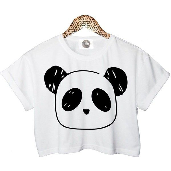 Panda T Shirt Crop Top Womens Ladies Retro Vtg Tumblr Celebrities... ❤ liked on Polyvore featuring tops, hipster tops, white tops, retro tops, crop top and white crop top