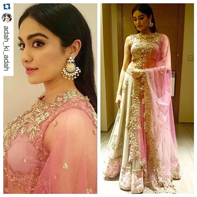 Adah Sharma looks beautiful at the SIIMA, 2015 awards in one of our favourite pieces from Portobello: The Indian Chapter.  #Repost @adah_ki_adah with @repostapp. ・・・ Wore #anushreereddy for #siima today with #houseofshikha earrings styled by #NeerajaKona #florallehenga #simplestraighthair #sosoprettyearrings
