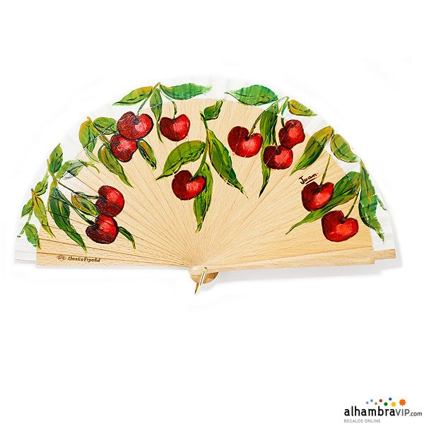 Elaborate hand-crafted fan made of beech wood. It is inspired in cherries. It has a cream leaf. Alhambravip only offers fans made in Spain. This fan comes with its box. Measures: 22 cm Materials: Beech wood Abanico cerezas