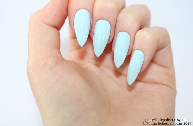 Pastel blue stiletto nails Fake nail by prettylittlepolish on Etsy