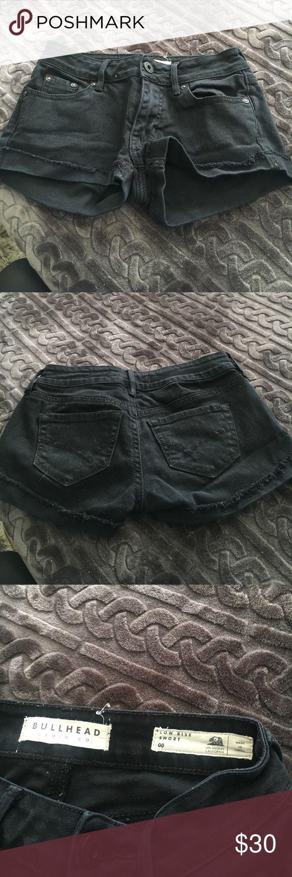 Bullhead black jean shorts Bullhead black jean shorts low rise size 00 cuffed at bottom Shorts Jean Shorts