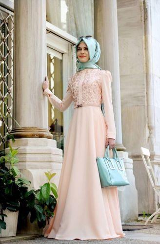Gamze Polat Gamze Polat - Deri Detaylı Elbise Somon