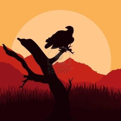 Chasse à l'aigle dans l'illustration nature paysage sauvage Banque d'images