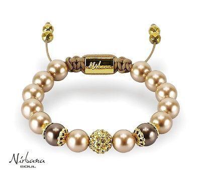 Nirbana Soul - Jacinta - Vintage Gold Shamballa Swarovski Pearl Bracelet