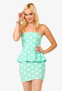 Polka Dot Peplum Dress $19.80