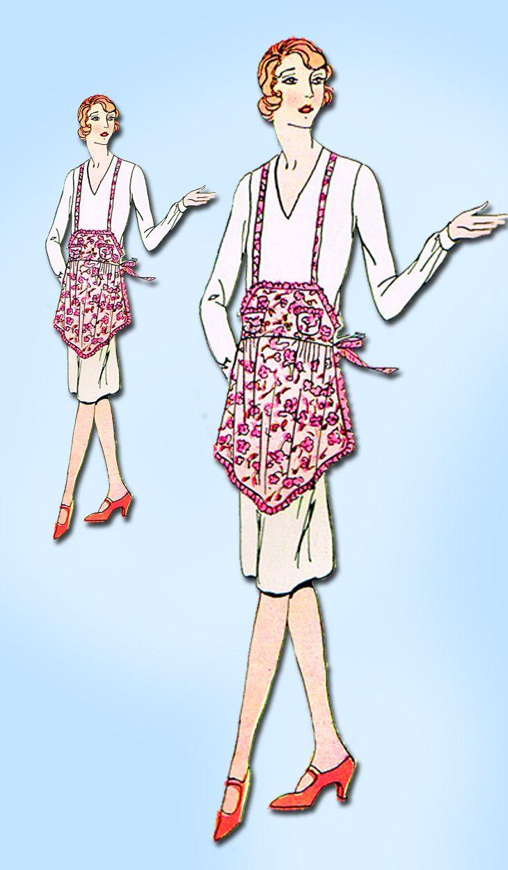 1920s Antique Simplicity Sewing Pattern 94 Uncut Misses Flapper Apron Fits All