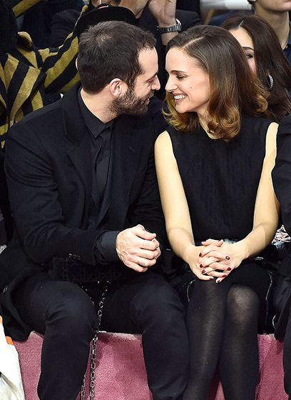 Benjamin Millepied and movie star wife Natalie Portman only had eyes for each other in the front row of the Christian Dior show, part of Paris Fashion Week, on Jan. 26.