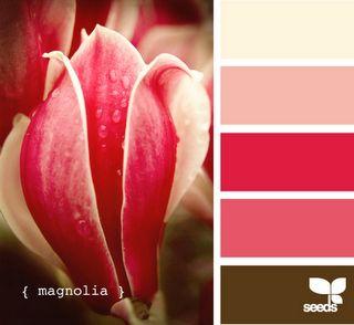 Warm pinks and cream colour scheme
