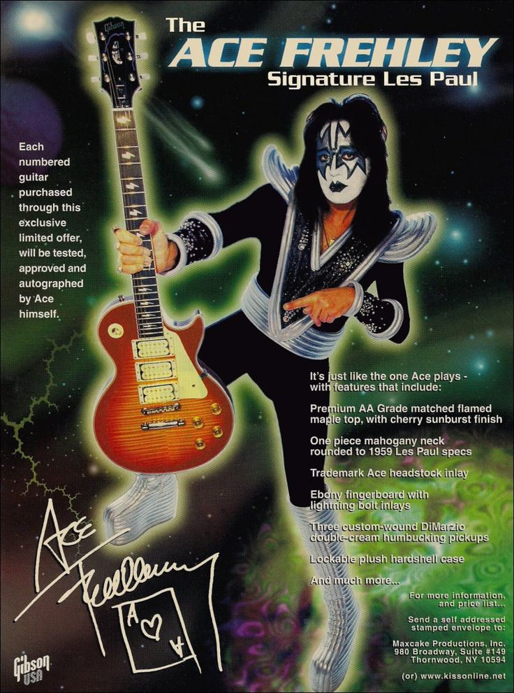 KISS Band Ace Frehley Gibson Les Paul Reproduction Promotional Stand-Up Display Kiss Collectibles Kiss Memorabilia Gift Idea kiss76