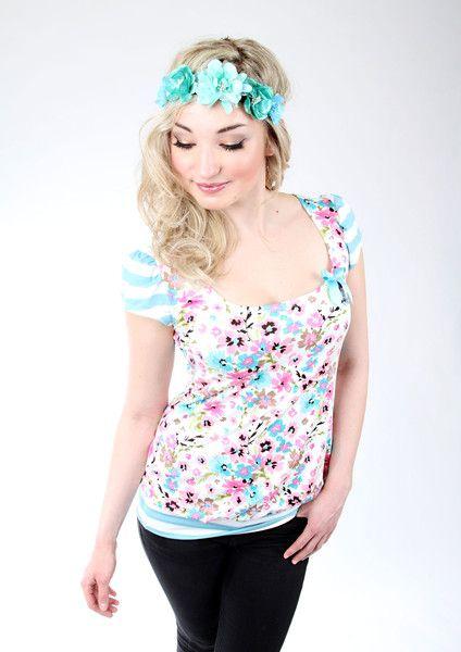 """Tops - MEKO """"Easy"""" Shirt Damen Türkis Blumen kurzarm - ein Designerstück von meko bei DaWanda"""
