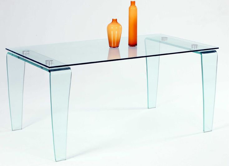 Modern All Glass Dining Table With Clear Top And Bent Legs