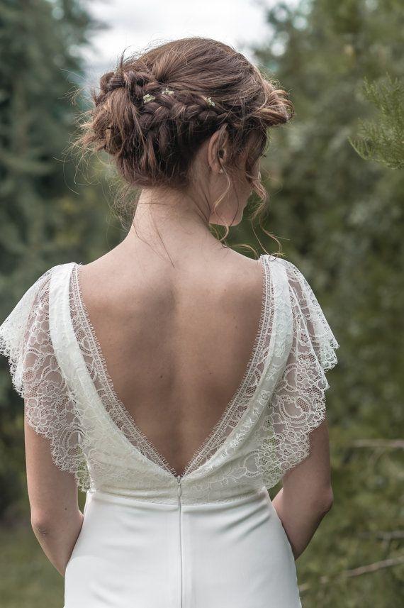 """Robe de mariée """"Marie"""" en crêpe et dentelle de Calais"""