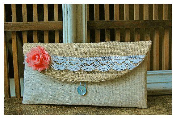 clutch burlap lace salmon wedding purse rustic shabby by hoganfe, 19.00