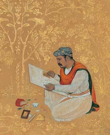 Daulat at work, a rare self portrait of a Mughal court painter. 1610 India. Golestan Palace Library, Tehran