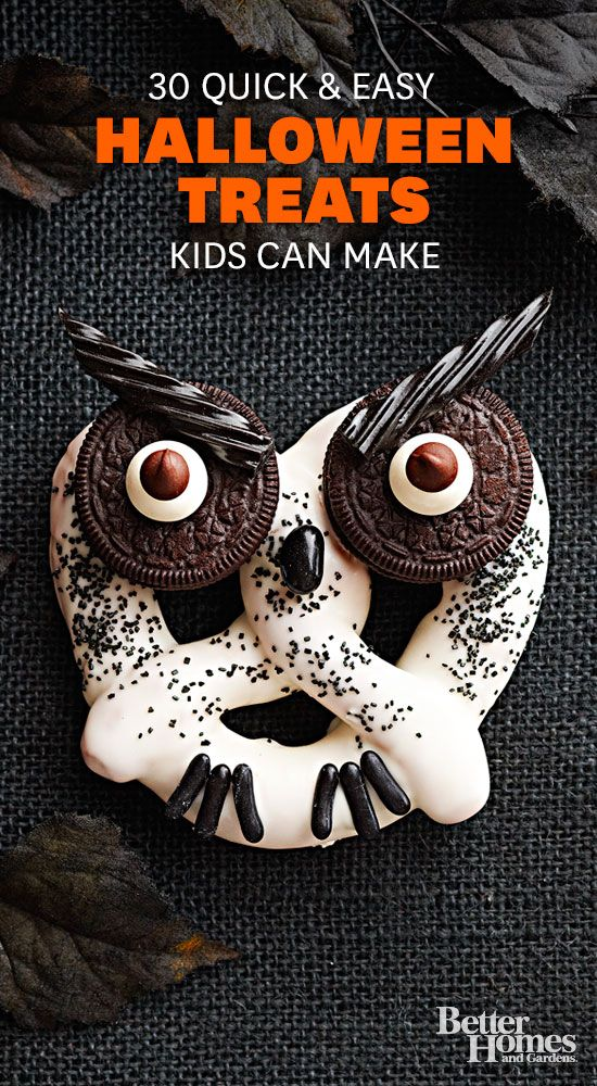 DIY Easy Halloween party treats: http://www.bhg.com/halloween/recipes/halloween-treats-kids-can-make/