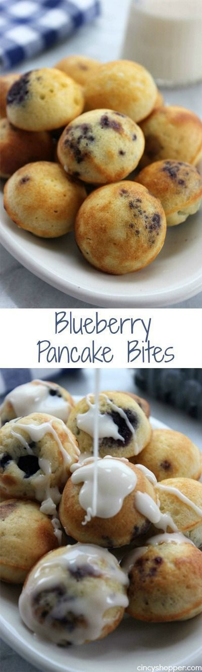 Blueberry Pancake Bites- bite sized pancake bite loaded with blueberries (or whichever mix-in your prefer). Place them in a cup and send the kiddos off to school with a warm, easy and tasty breakfast.